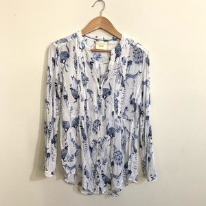 Maeve Anthropologie Fauna Button Front Tunic
